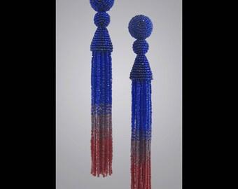 Cobalt, Plum, Ruby Red, Tassel Earrings, blue tassel earrings, five inch beaded tassels. beaded tassel earrings, multicolored tassels