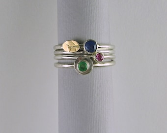 Stackable rings, sapphire ring, emerald ring, kyanite ring, gemstone ring, gemstone ring set, ring set, stacking ring set