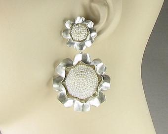 Pearl camellia earrings, pearl earrings, silver and pearl, pearl flower earrings, pearl dangle earrings, wedding earrings, wedding pearls