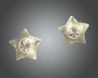 Star earrings, silver star earrings, silver stars, star posts, black stars, white topaz earrings, holiday earrings, star studs, New year