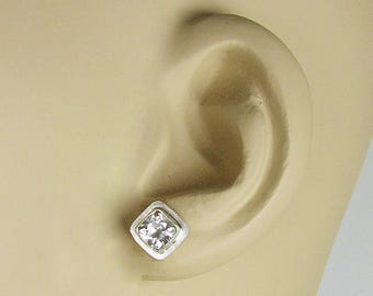 White Topaz studs, silver and topaz, white topaz earrings, ice cube earrings, Holiday earrings, winter earrings, topaz earrings, topaz posts