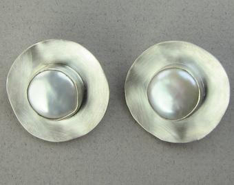 Pearl Button Earrings, Freshwater pearls, pearl and silver, silver earrings, button earrings, clip-on earrings, pearl earrings, wedding