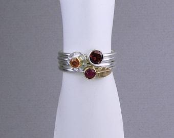 Stackable rings, ruby ring, sapphire ring, garnet ring, gemstone ring, gemstone ring set, ring set, stacking ring set