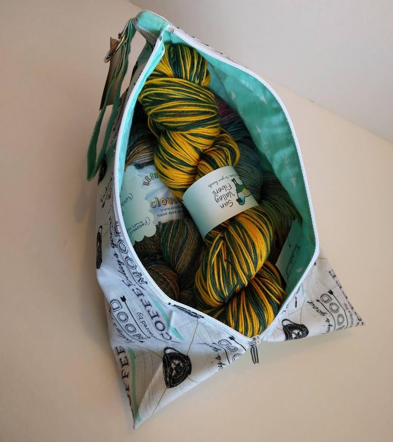 Three Skein Zippered Bag Fancy Chickens Moka Pot Zippered Tote Medium Knitting Project Bag.