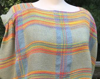 Rainbow Plaid Cotton Tunic Blouse Handwoven