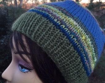 Blue Olive Green Handspun Wool Handknit Hat