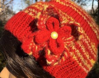 Red Gold Handspun Wool Knit Hat