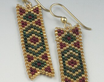 Gold Red and Green Beaded Banner Earrings