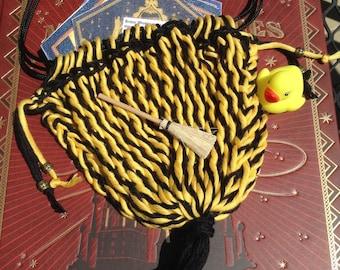 Loyal Wizard Yellow Black Sprang Woven Bag