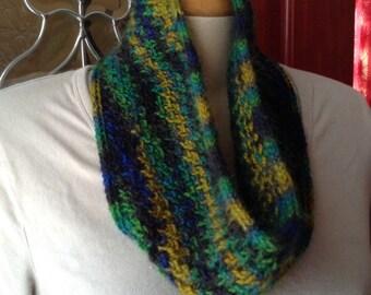 Handknit Green Gold Black Wool Neckwarmer Cowl