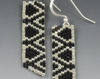 Black and Silver Banner Earrings