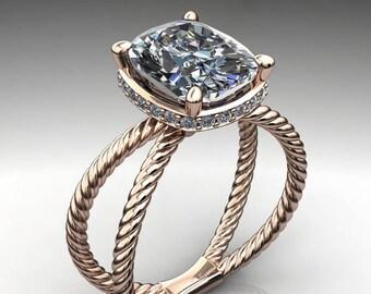 raven ring - 3.2 carat cushion cut ZAYA moissanite engagement ring