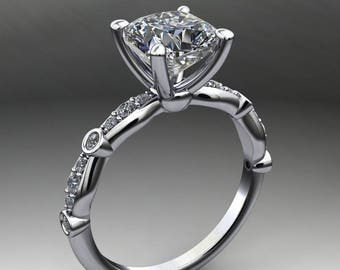 amelia ring - 1.7 carat cushion cut NEO moissanite engagement ring, vintage inspired