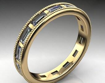 tanner ring – ZAYA moissanite eternity band, milgrain ring