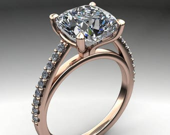 mia ring – 2.4 carat cushion cut NEO moissanite engagement ring, french pave ring