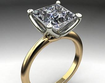 natalie ring - 2.5 carat princess cut NEO moissanite engagement ring, square moissanite