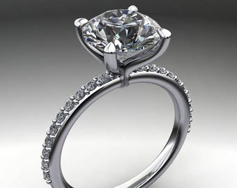 shay ring - 1.9 carat diamond cut round NEO moissanite engagement ring