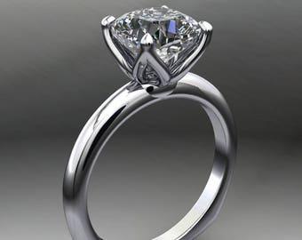 natalie ring - 1.7 carat cushion cut NEO moissanite engagement ring, euro shank