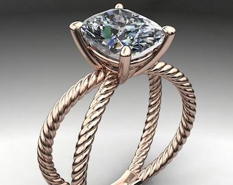 raven ring - 2.8 carat elongated cushion cut ZAYA moissanite engagement ring