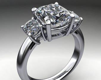 rae ring - 2.8 carat elongated cushion cut ZAYA moissanite engagement ring