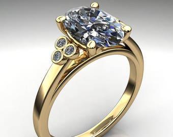 aurora ring – 2.5 carat oval cut ZAYA moissanite engagement ring, elongated oval moissanite ring