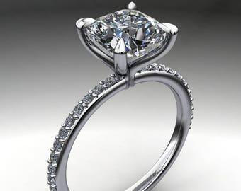 shay ring - 1.7 carat cushion cut NEO moissanite engagement ring, diamond shank