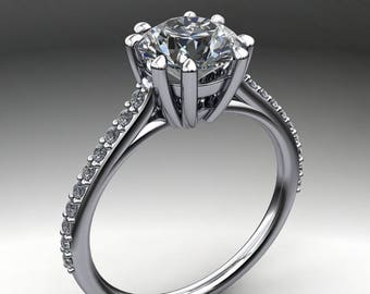 ciara ring – 2 carat NEO moissanite engagement ring, cathedral setting, diamond cut round moissanite
