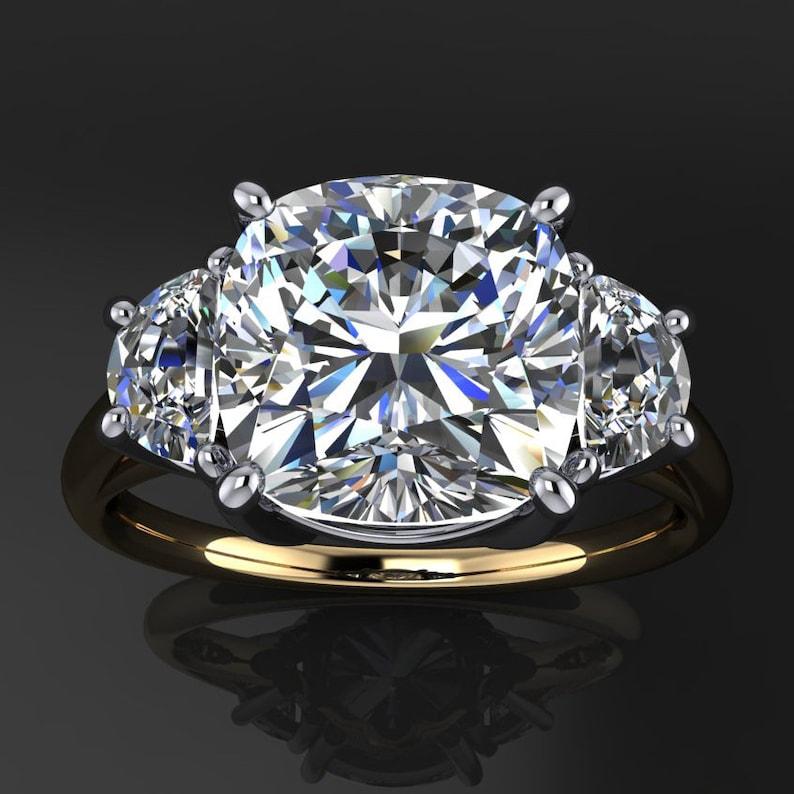 Ava Ring 3 Carat Cushion Neo Moissanite Engagement Ring Half Moon Side Stones