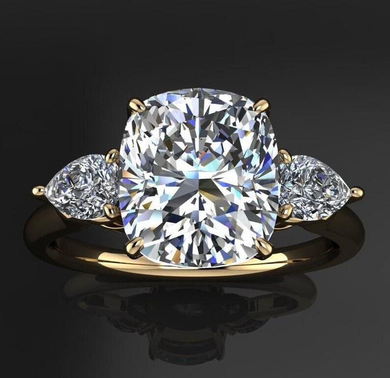Erica Ring 2 Carat Old Mine Cut Cushion Zaya Moissanite Engagement Ring 3 Stone Ring