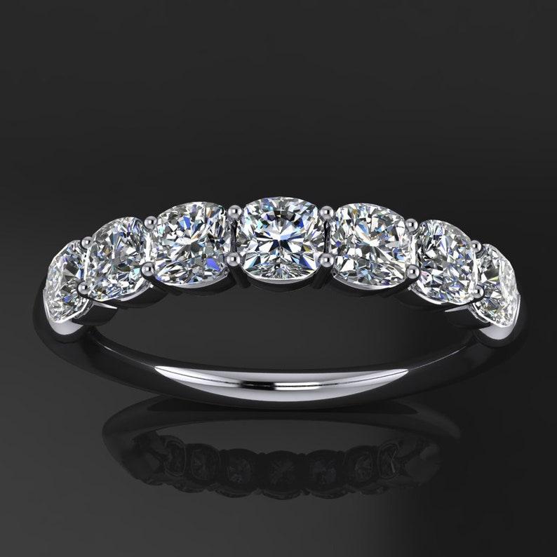 gia ring - 1 carat NEO moissanite anniversary band, 7 stone anniversary ring