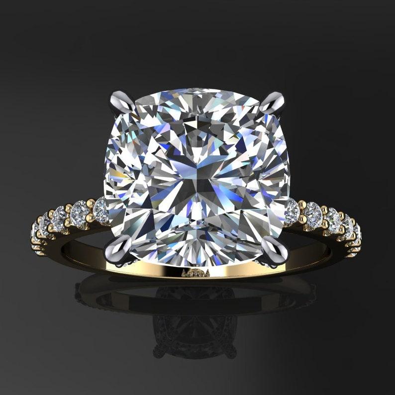 Taj Ring 3 Carat Cushion Cut Neo Moissanite Engagement Ring Colorless Moissanite