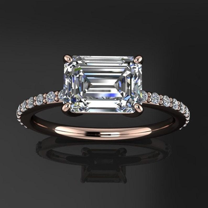 0d78d25f3c90b9 Eliza ring 1.75 carat emerald cut NEO moissanite engagement | Etsy