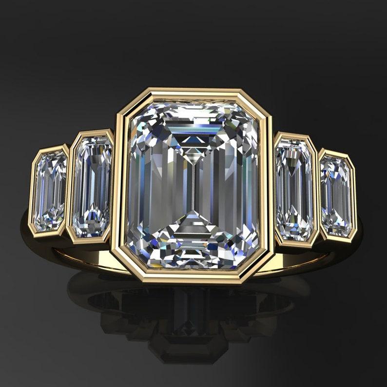 taylor ring – 1 75 carat emerald cut NEO moissanite engagement ring, bezel  set engagement ring