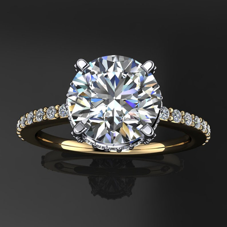 2 carat round NEO moissanite engagement ring  halo ring  image 0