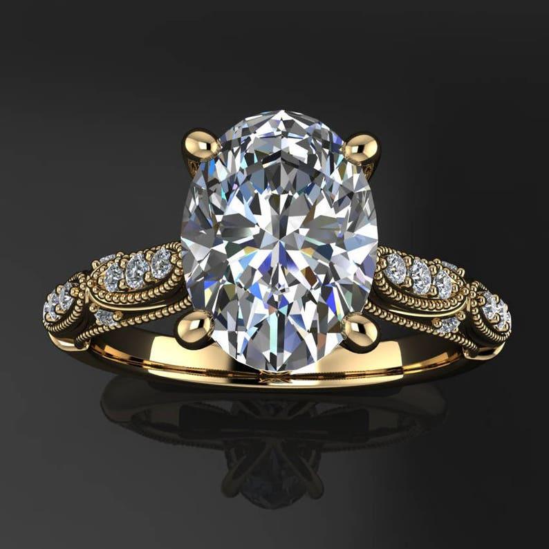 annette ring  2 carat oval ZAYA moissanite engagement ring image 0