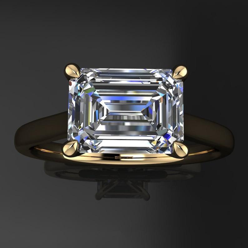1de78c49cad71c Sabra ring 1.75 carat emerald cut NEO moissanite engagement | Etsy