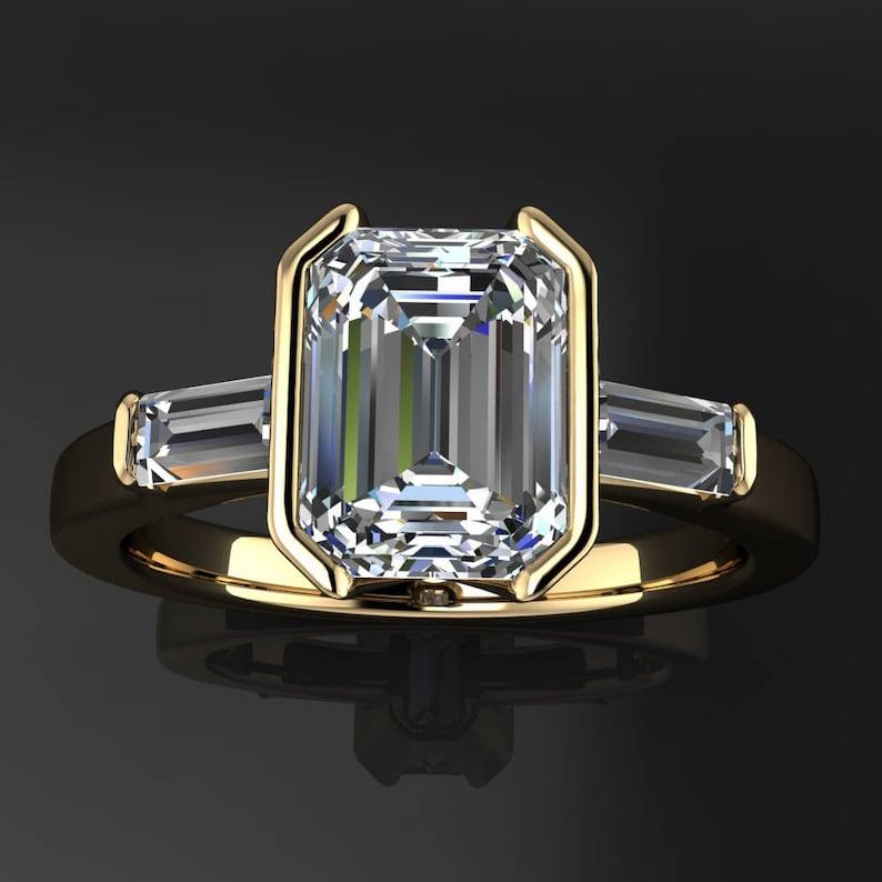 a19e7463770d56 Alex ring custom 1.75 carat emerald cut NEO moissanite | Etsy