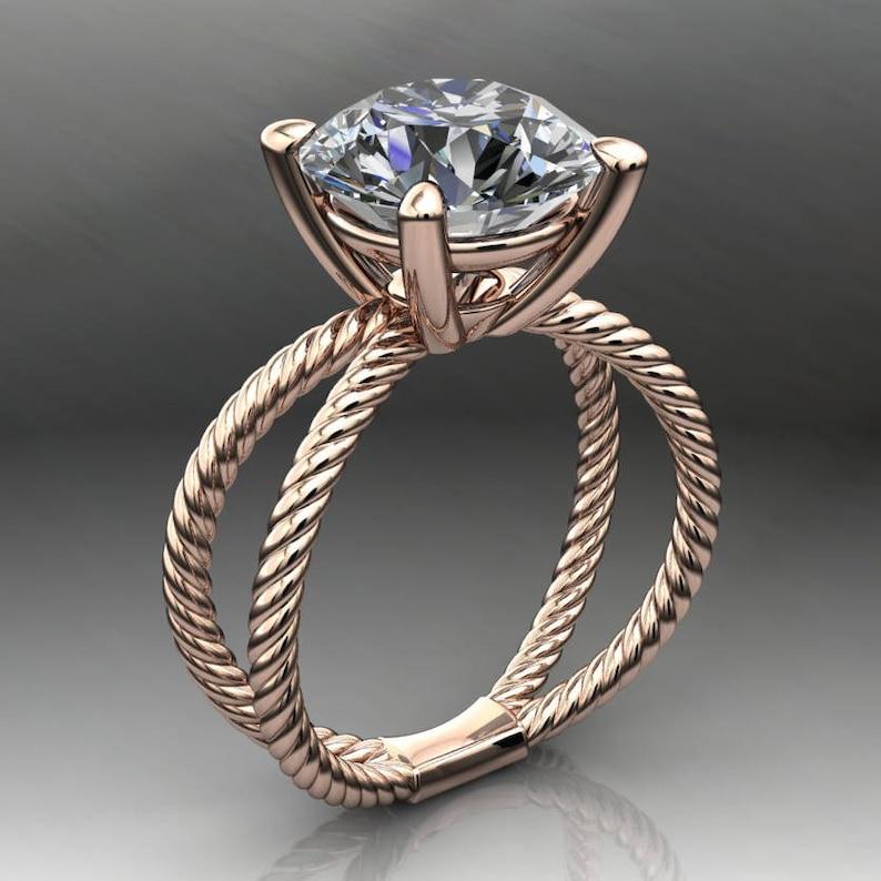 raven ring - 4 2 carat diamond cut round NEO moissanite engagement ring,  colorless moissanite