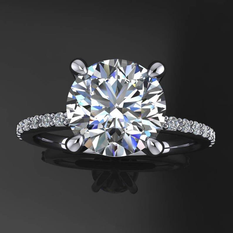 shay ring  2 carat diamond cut round NEO moissanite image 0