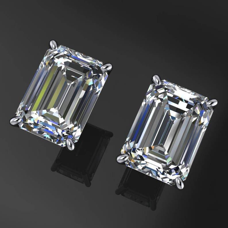 1c8569d183ae5 2 carat emerald cut moissanite earrings, NEO moissanite 14k gold stud  earrings