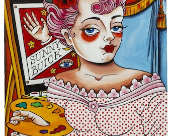 Poster Print painter Girl Pink Hair by Sunny Buick