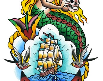 Poster Print Mermaid Sailor Wealth Ship Feng Shui by Sunny Buick for wall decoration