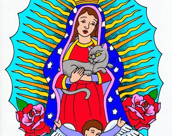 Mother of Cats Guadelupe Virgen Mary Poster Print by Sunny Buick