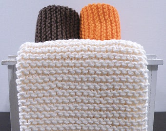 Hand Knitted Dishcloths, Cotton Washcloths, Dish Cloths, Wash Cloths, Handmade towels, Dish Rags  - Fall Collection