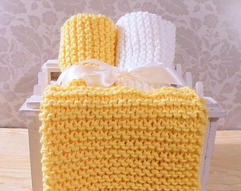 Hand Knitted Dishcloths, Cotton Washcloths, Dish Cloths, Wash Cloths, Handmade towels, Dish Rags  - Yellow