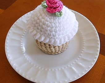 Crocheted Cupcake Pincushion with White Frosting