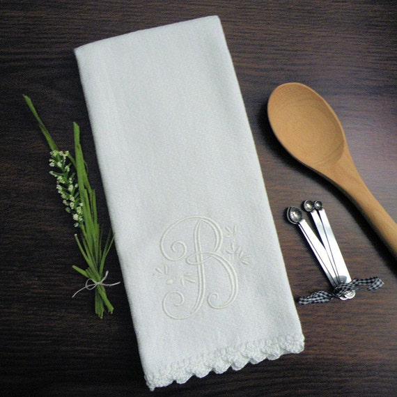 Monogrammed Dish Towel Monogrammed Kitchen Towel White