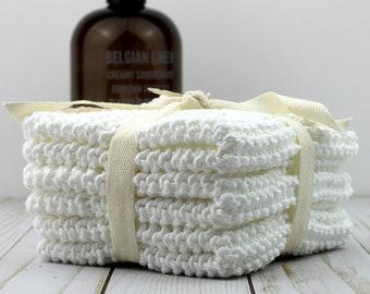 White Hand Knit Dishcloths - Set of 3
