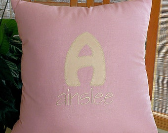 Princess Pink  Monogrammed Pillow , Appliqued Pillow, Personalized Pillow