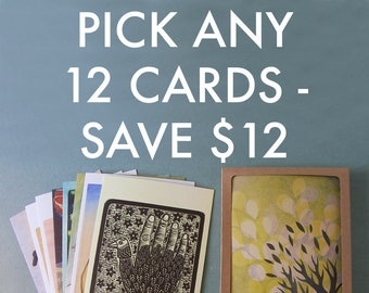 PICK ANY 12 NOTECARDS // 5 x 7 blank recycled cards - boxed stationery set - illustration cards - greeting card set - nature cards